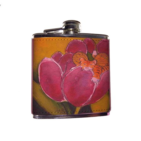Bengal Pins (KuzmarK Pink Leather Flask - Bengal Tiger Cub Kitty Fairy with Plum Tulips Fantasy Cat Art by Denise Every)