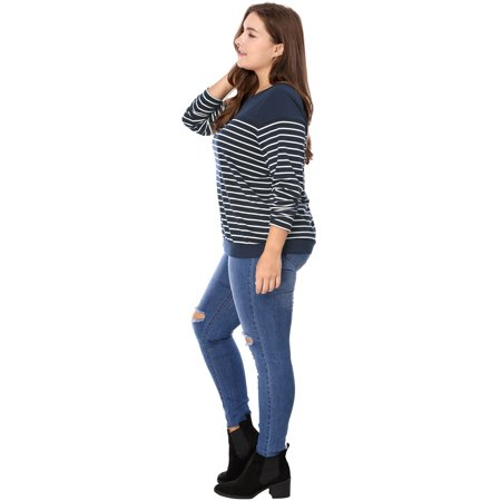 Women Plus Size Round Neck Long Sleeves Striped T-shirt Blue 3X - image 6 of 7