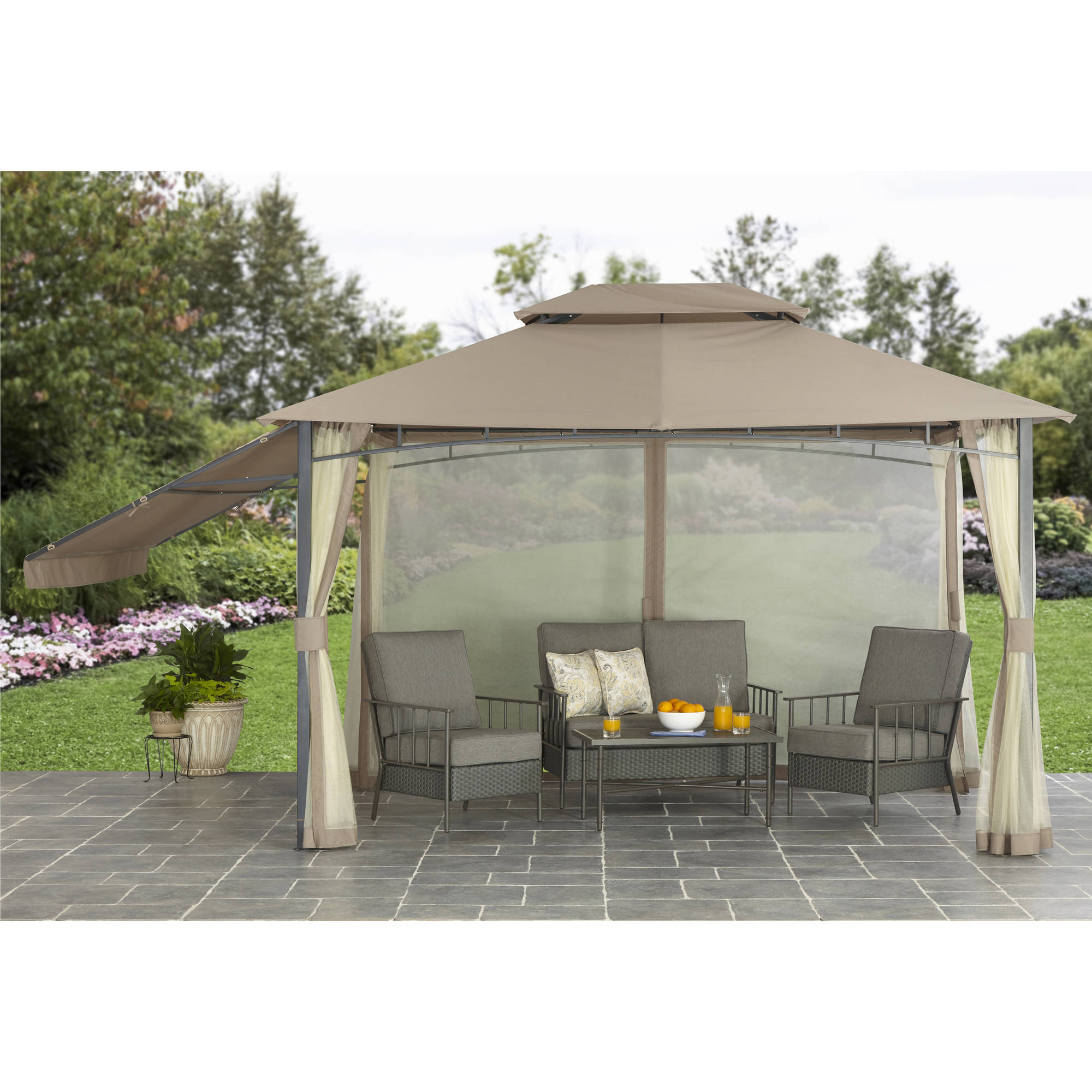 Better Homes and Garden Parker Creek 10' x 12' Cabin Style Gazebo with Adjustable Side by