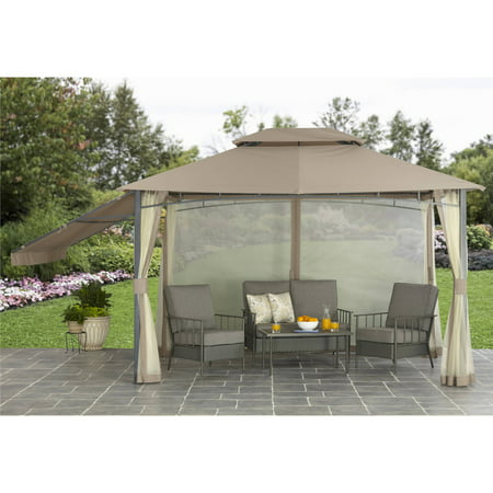 Better homes and garden parker creek 10 39 x 12 39 cabin style gazebo with adjustable side Better homes and gardens gazebo