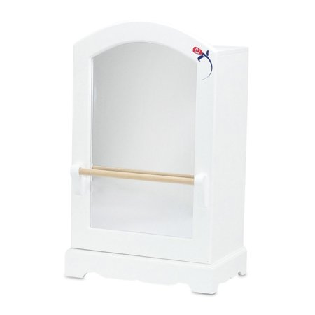 18 Inch Doll Furniture | Doll Clothes & Dresses Armoire Storage Closet with Mirror and Ballet Barre, Includes 5 Notched Hangers | Fits American Girl Dolls ()