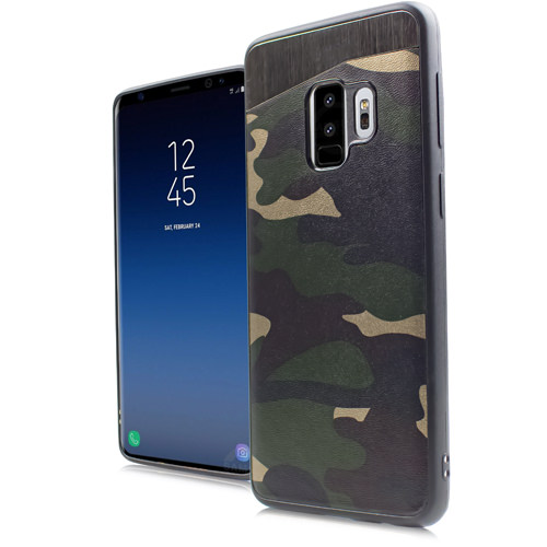 MUNDAZE Green Camo Magnetic Ready Case For Samsung Galaxy S9 Phone