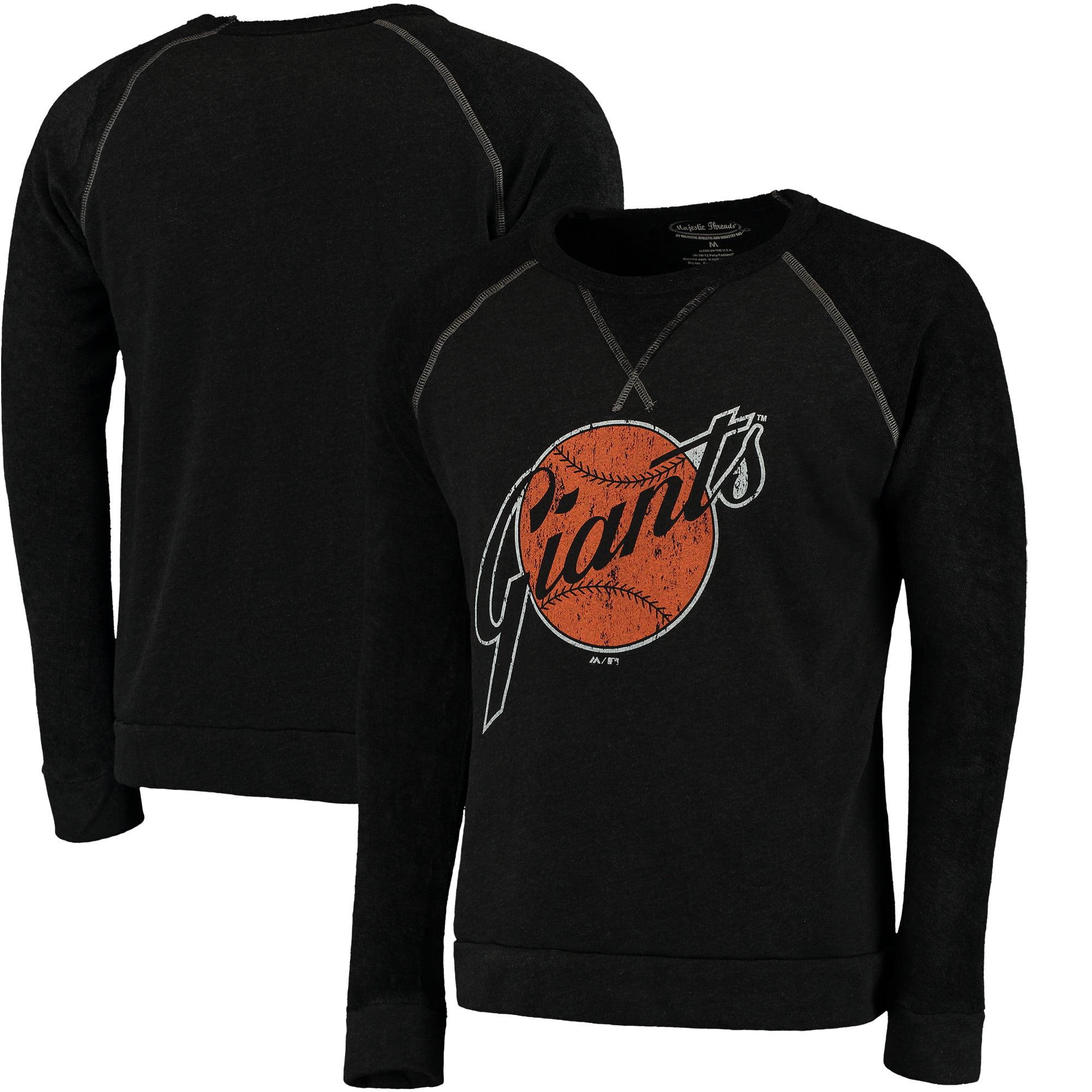 San Francisco Giants Majestic Threads Vintage Terry Crew Raglan Sweatshirt - Black