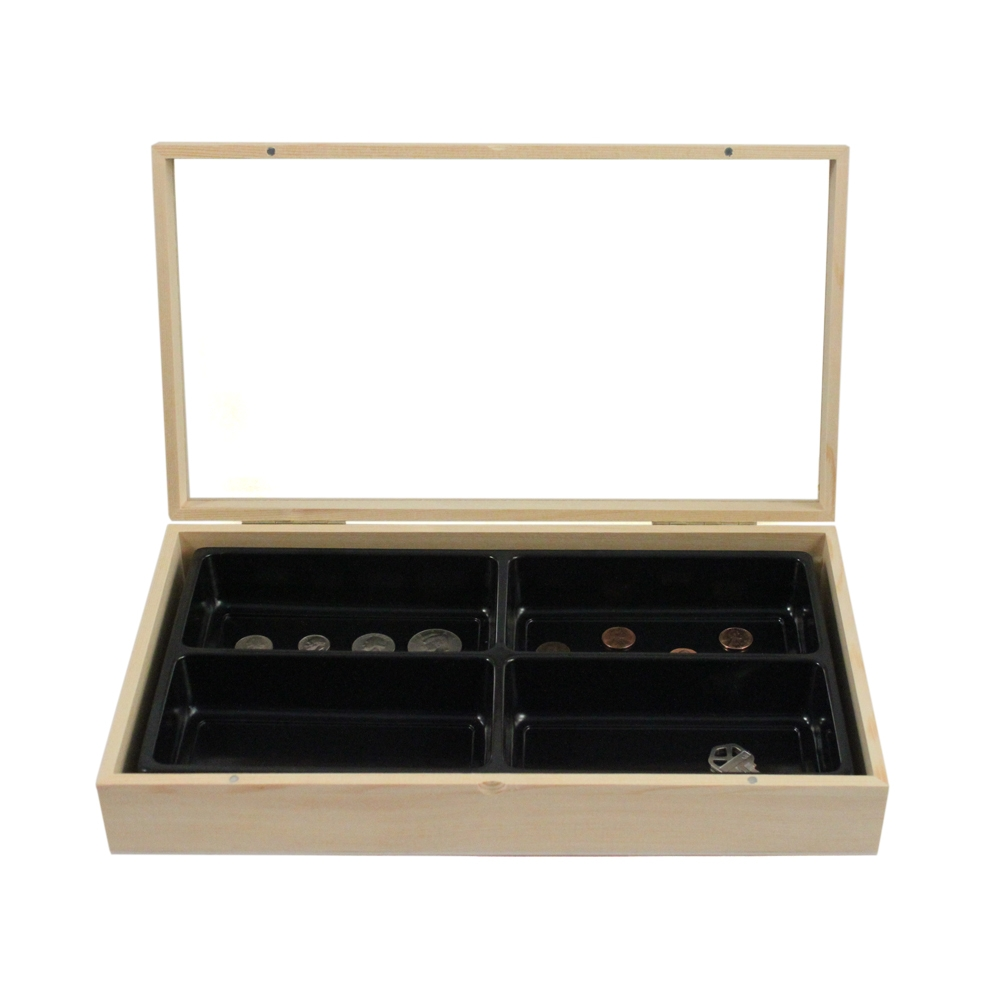 15inch Glass Top Wooden Jewelry Display Box Walmartcom