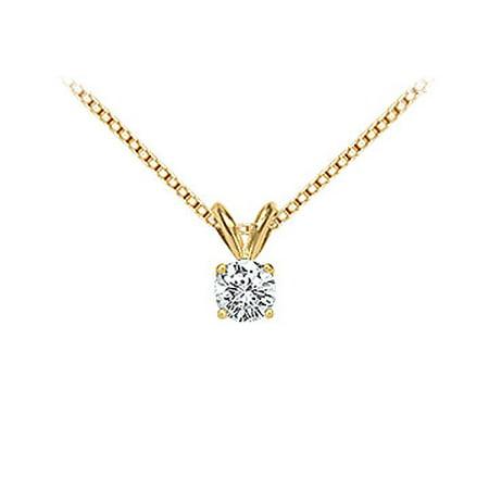 18K Yellow Gold Prong Set Round Diamond Solitaire Pendant 0.25 CT. TDW. - image 1 de 2