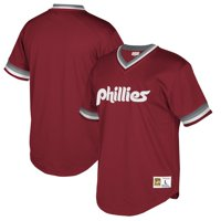 Philadelphia Phillies Mitchell & Ness Cooperstown Collection Mesh Wordmark V-Neck Jersey - Burgundy