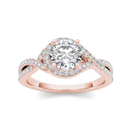 275177b7c De Couer - De Couer 14k Rose Gold 1 1/4ct TDW Diamond Twist Engagement Ring  - Walmart.com