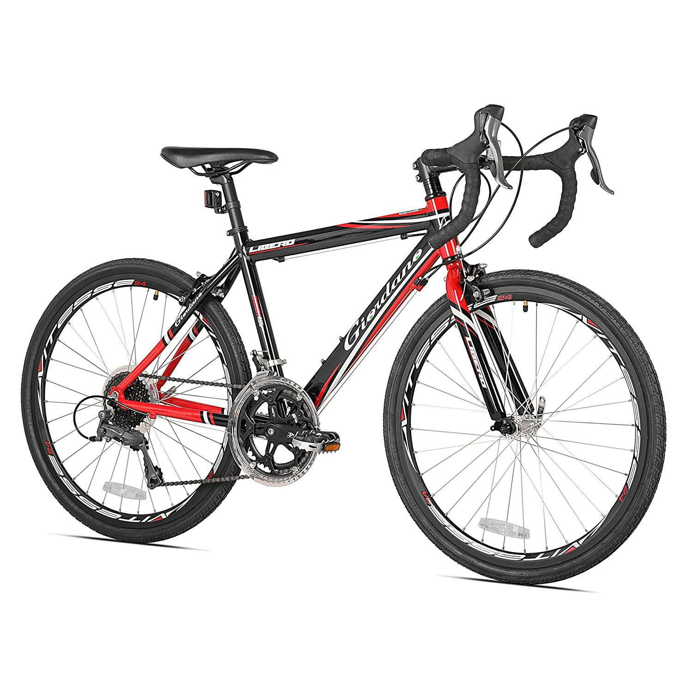 "Giordano 24"" 700c Libero 16 Speed Lightweight Aluminum Kids Road Bike, Black/Red"
