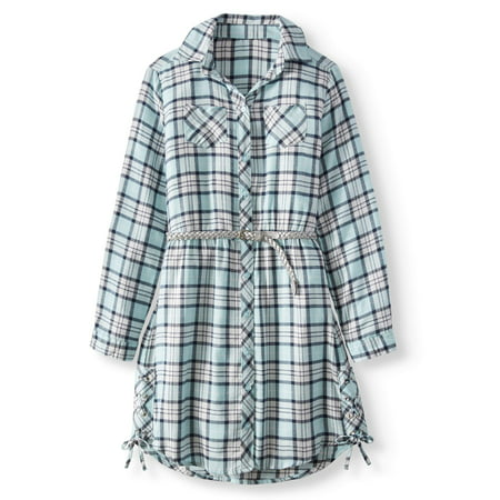 Plaid Lace-Up Shirt Dress with Belt (Little Girls & Big - Little Dress Up Shop Coupon Code