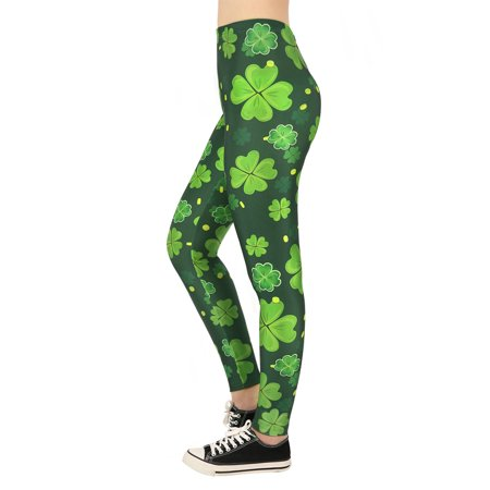 HDE Saint Patricks Day Leggings for Women St Pattys 4 Leaf Clover Shamrock Pants - - Black And Red Striped Leggings