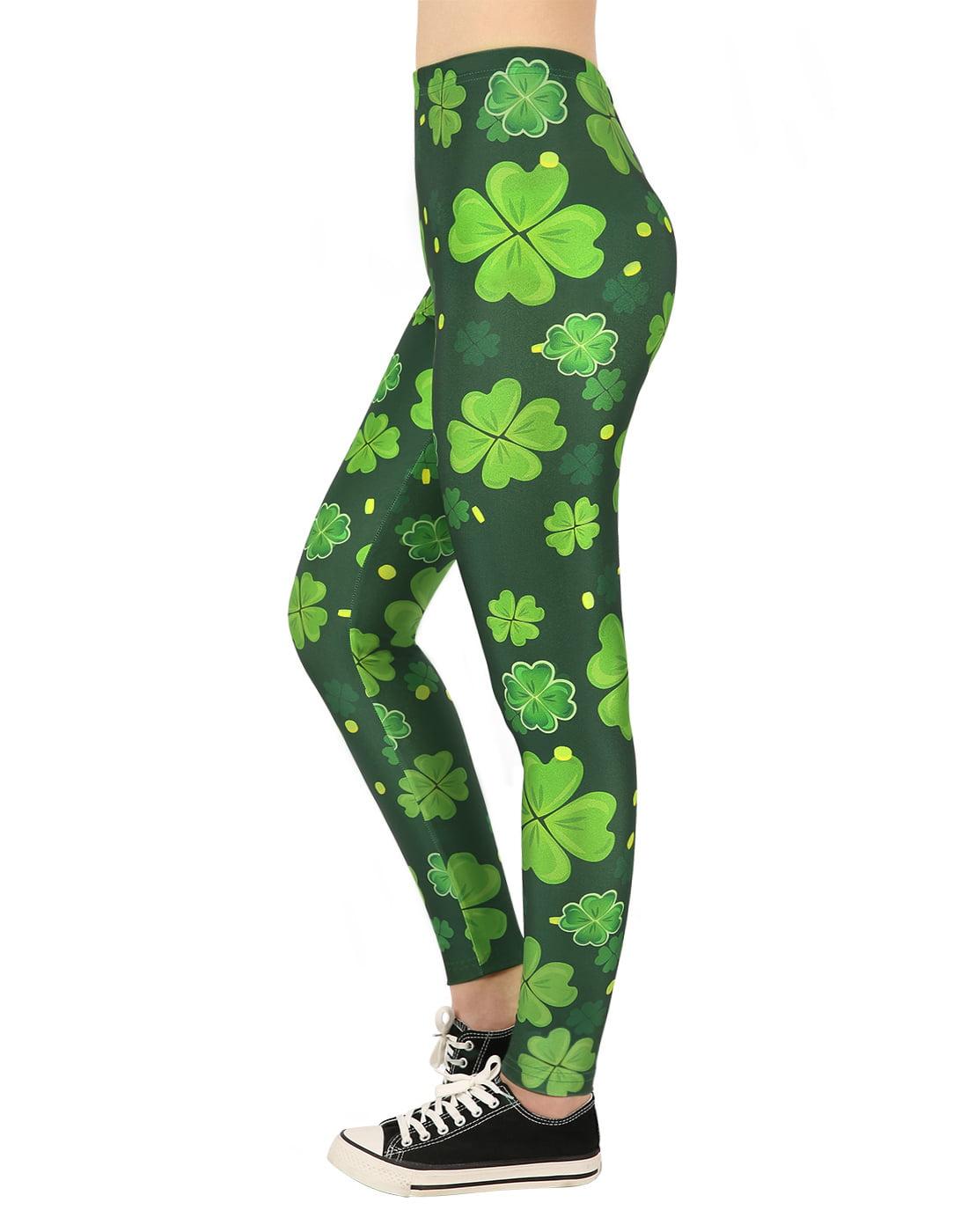 HDE Saint Patricks Day Leggings for Women St Pattys 4 Leaf Clover Shamrock Pants - XX-Large