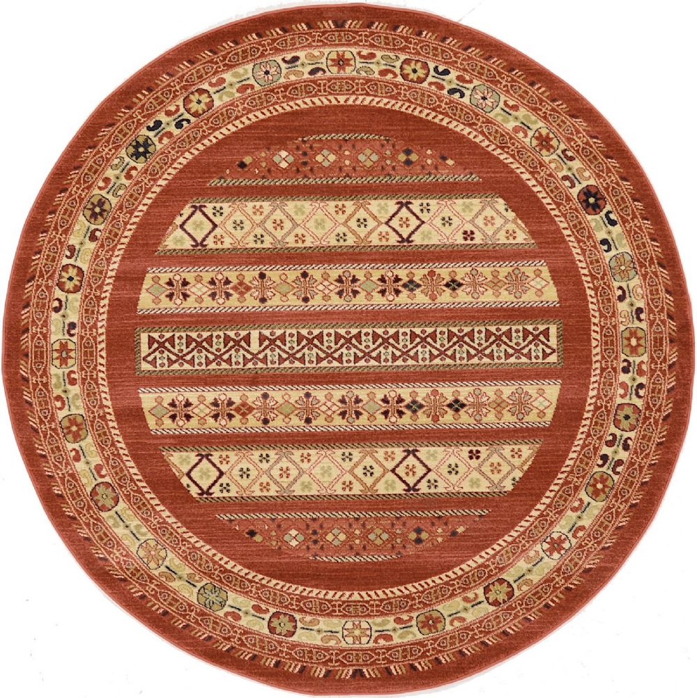 Round Or Rectangular Area Rug: Contemporary Frederica Collection Area Rug In Deep Red