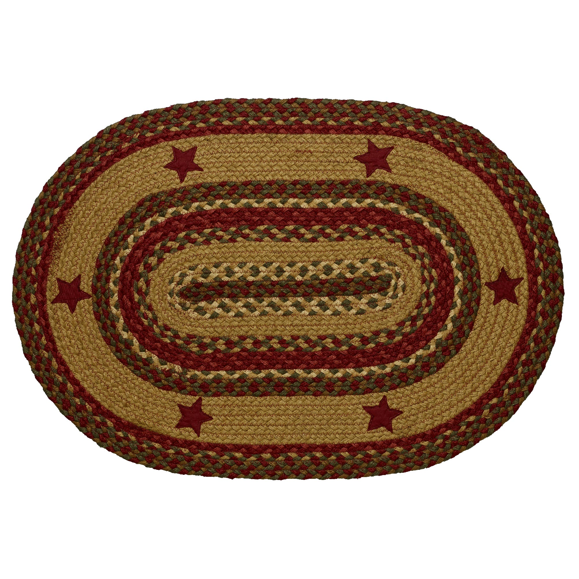 Braided Rug Cinnamon Star Jute Country Primitive IHF