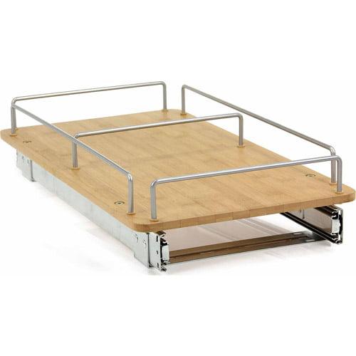 "Household Essentials 11.5"" Bamboo Sliding Under Cabinet Organizer, Natural"