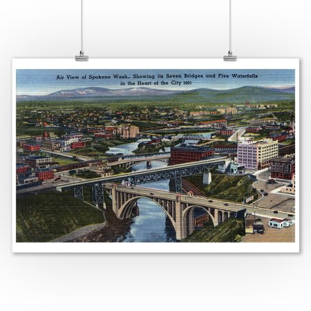 Water Decor Bridge (Spokane, Washington - Aerial of Seven City Bridges and Five Waterfalls (9x12 Art Print, Wall Decor Travel)