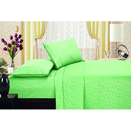 Ben Jonah Designer Plush Full Flower Embossed Sheet Set Lt Green