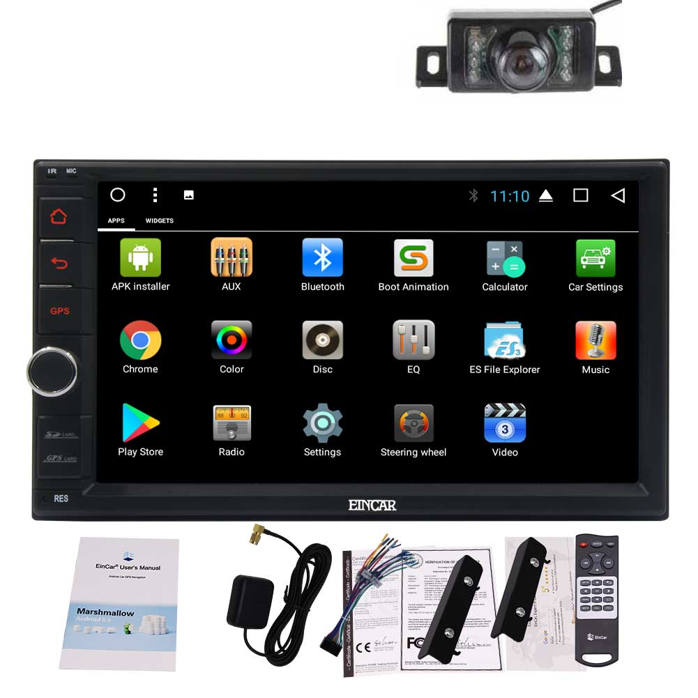 WiFi 1080P Vdide with Remote Control AM//FM RDS Radio EINCAR Android 8.1 Car Stereo Radio Double Din 2GB+32GB with GPS Navigation AUX Bluetooth Mirrior Link Android Auto SWC