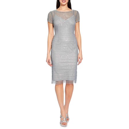 Beaded Stripe Sheath Dress