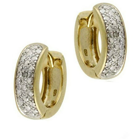 Diamond Accent 18kt Gold over Sterling Silver Huggies Hoop Earrings (Diamond Channel Huggie Earrings)