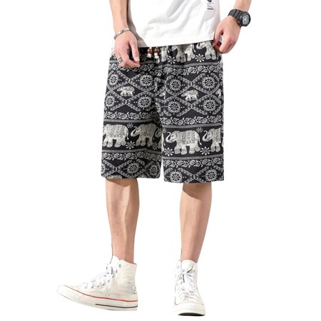 Men Beach Shorts Summer Fifth Pants Elephant Print Ethnic Style Pockets Casual Loose Plus Size M-5XL Color:K3517 Size:XXXXXL - image 8 de 8