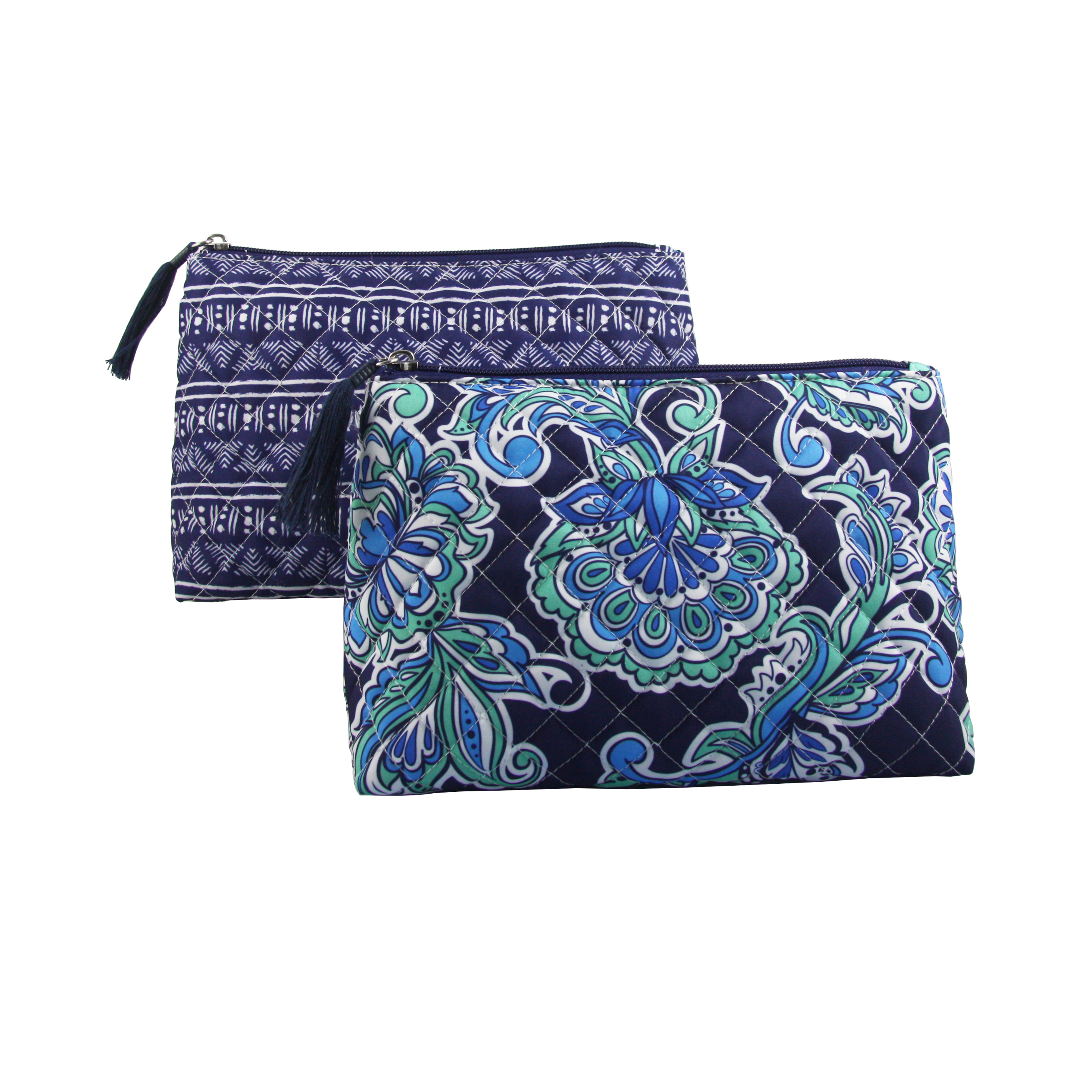 Modella Navy Quilted Paisley Fitted Clutch