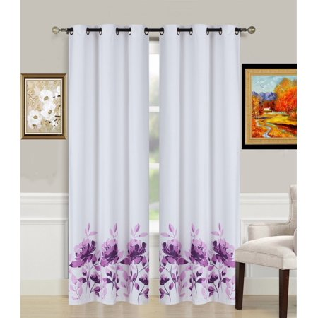 2-Piece Flower Purple Printed Lined Blackout Grommet Window Curtain Treatment, Set Of Two (2) Floral Pattern Room Darkening Panels 37