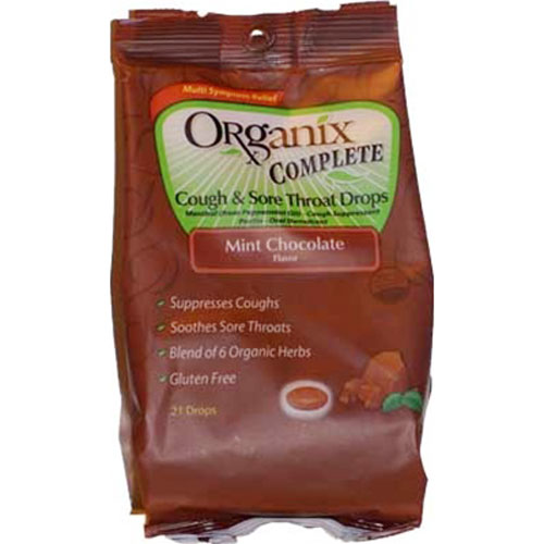 Organix Complete Cough And Sore Throat Drops Dark Chocolate Mint - 21 Ea