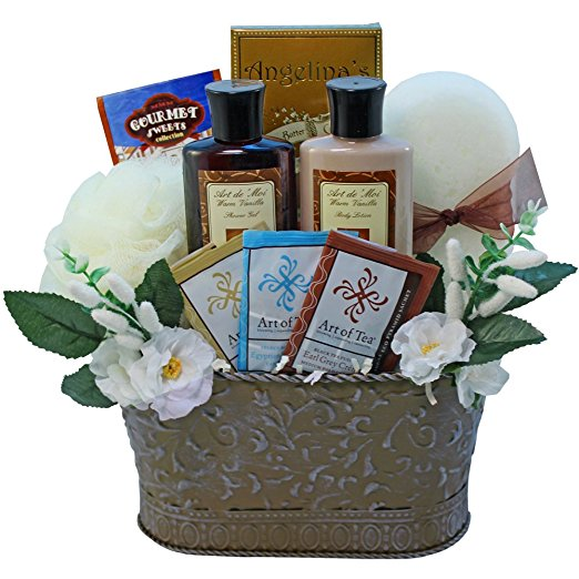 Tranquil Delights Spa Bath and Body Gift Basket Set with Tea and Cookies (Warm Vanilla)