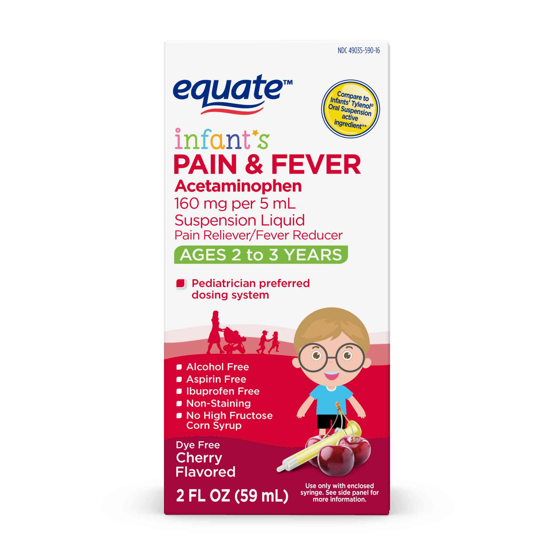 Equate Infants Acetaminophen Cherry Suspension, 160 mg