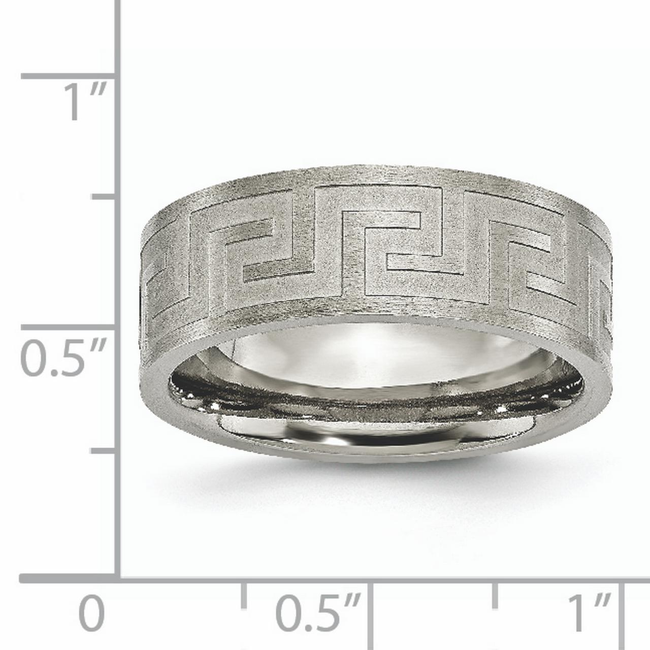 Titanium Greek Key 8mm Wedding Ring Band Size 8.50 Designed Fashion Jewelry Gifts For Women For Her - image 3 of 6