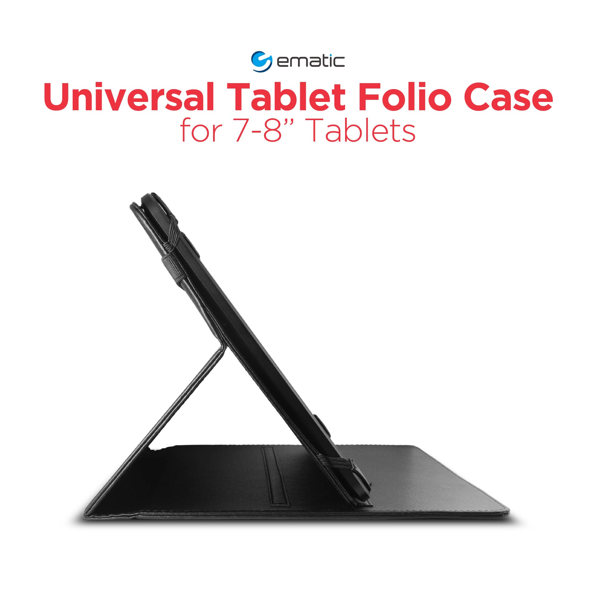 "Ematic Universal Tablet Folio Case for 7""-8"" Tablets and Apple iPad Mini"