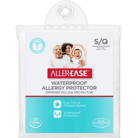 AllerEase Waterproof Allergy Protector Zippered Pillow Protector, Jumbo ()