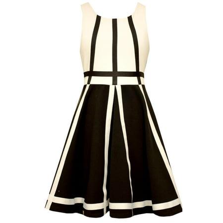 Bonnie Jean Big Girls Modern Black and White Contrast Banding Dress 7](Black And White Girls Dress)