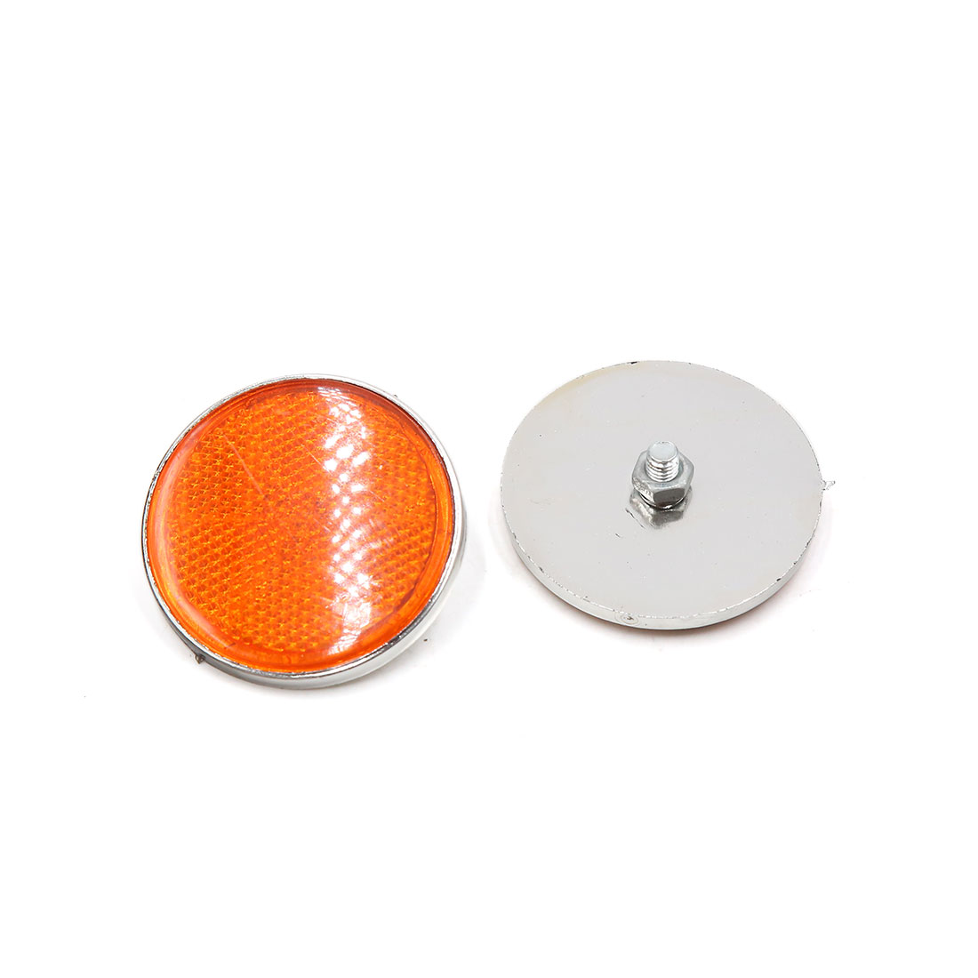15 Pcs 55mm Dia Orange White Plastic Round Reflective Reflector for Motorbike - image 1 de 2