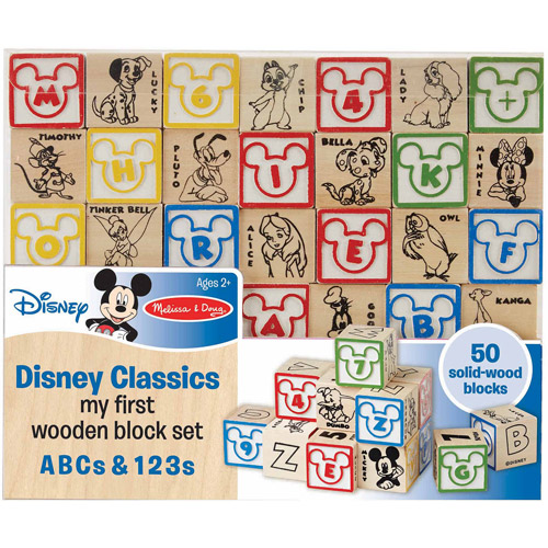 Melissa & Doug Disney Baby Classics My First Wooden Block Set, ABCs and 123s
