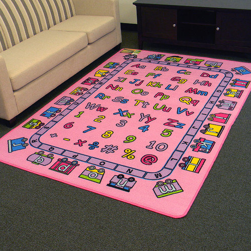 DonnieAnn Company Paradise Alphabets Train Pink Outdoor Area Rug