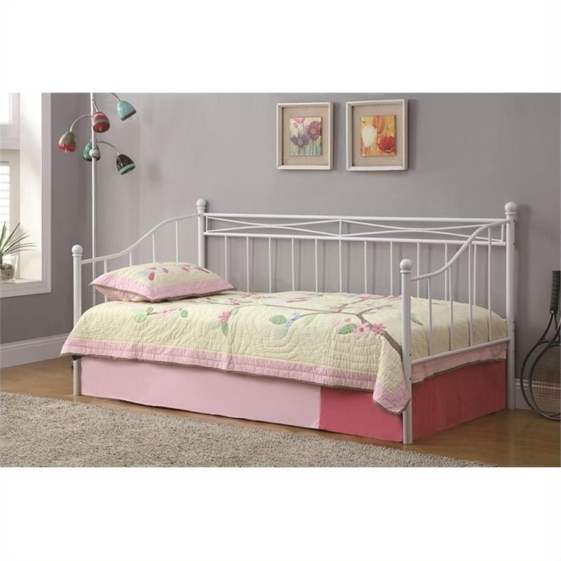 Bowery Hill Casual Metal Frame Day Bed with Pop-Up Trundle in White by Bowery Hill
