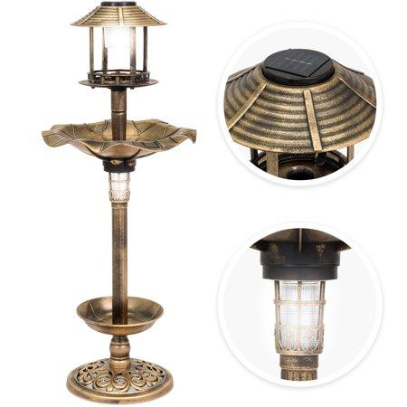Best Choice Products Decorative Garden Solar-Powered LED Pedestal Bird Bath Feeder with Planter, Lamp Topper,