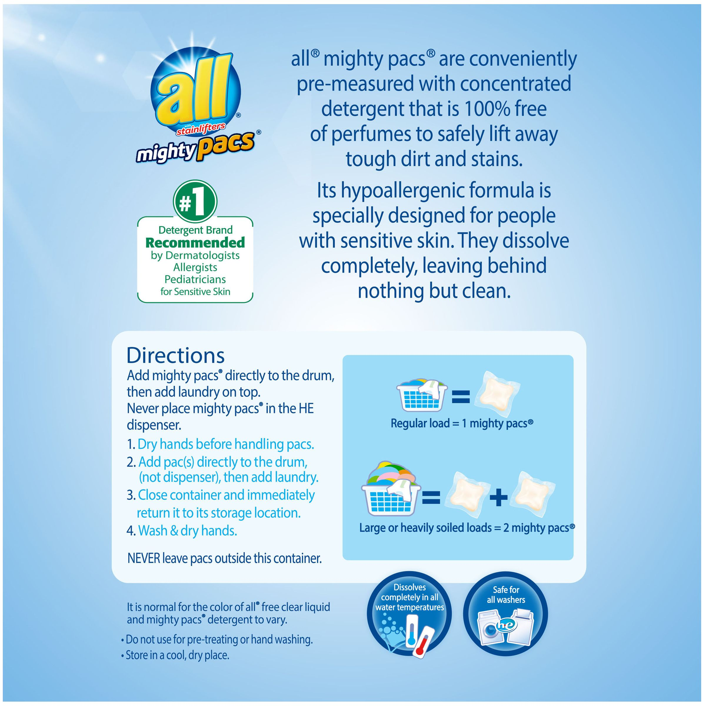 All mighty pacs laundry detergent free clear for sensitive skin all mighty pacs laundry detergent free clear for sensitive skin tub 67 count walmart nvjuhfo Choice Image