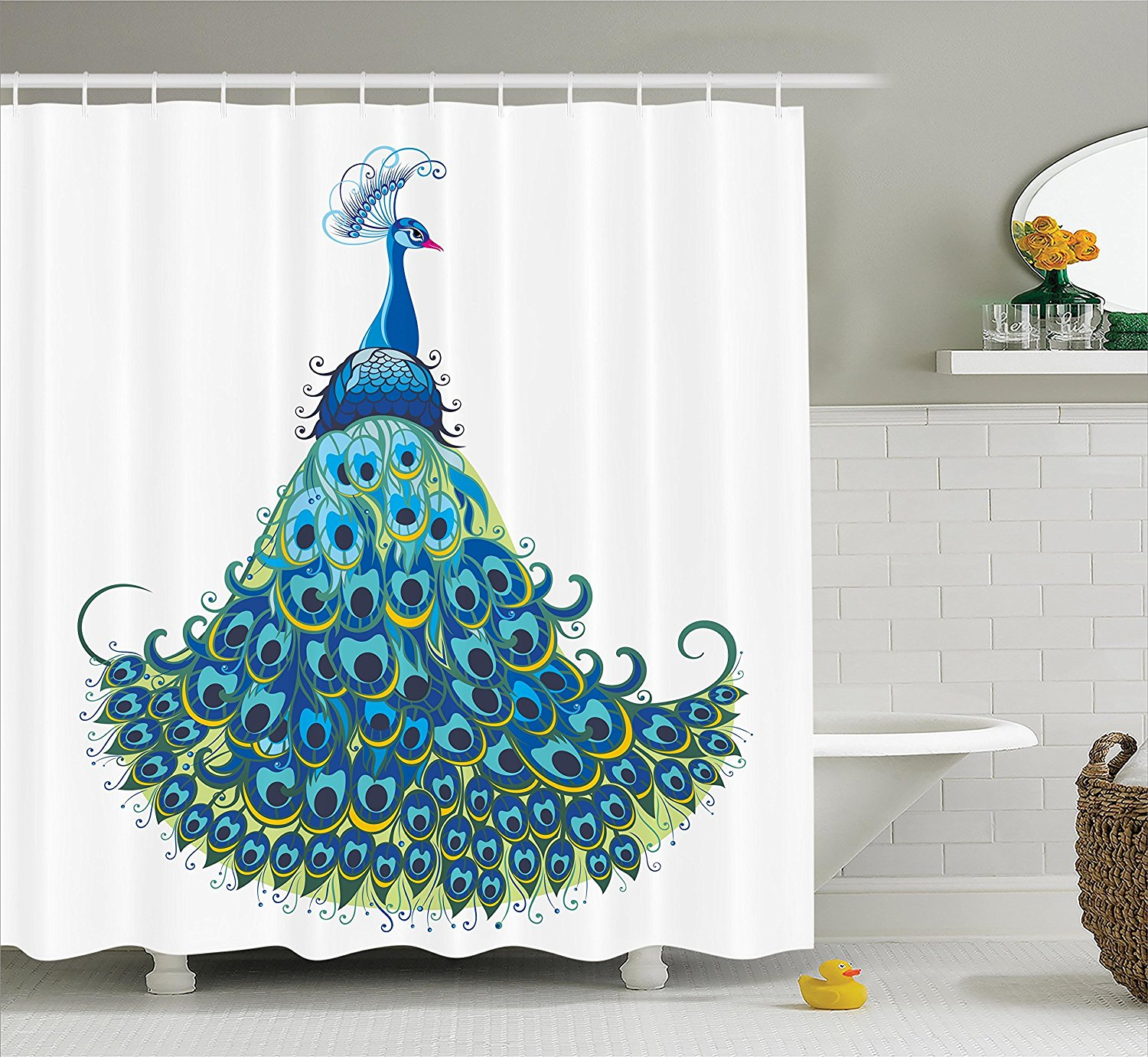 Peacock Shower Curtain Long, Home Decor By , Peacock ...