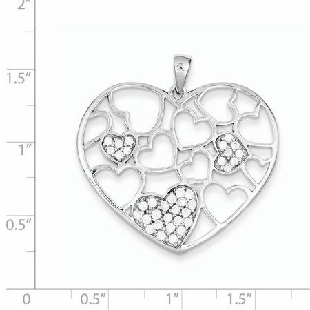 Sterling Silver Polished & CZ Hearts Pendant QP2071 (35mm x 35mm) - image 1 de 2