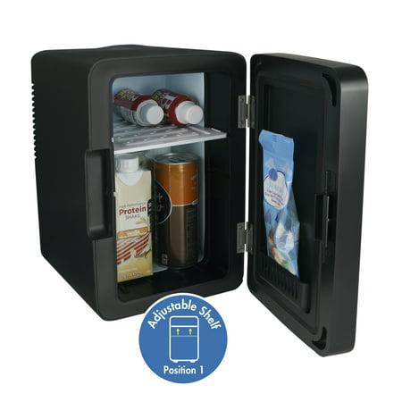 Personal Chiller LED Lighted Mini Fridge with Glass Door, Black