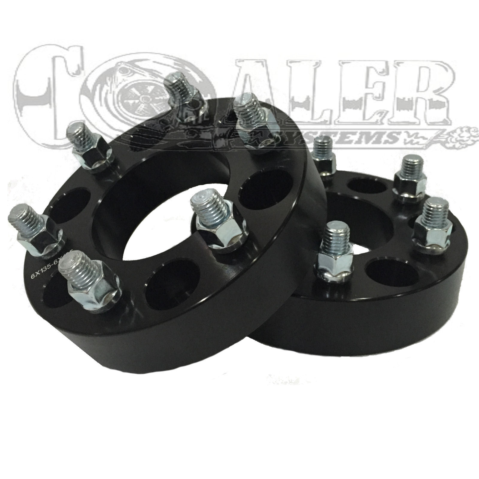 2 BLACK Wheel Spacers For Lincoln Navigator- 87.1 CB 6X135 1.5 in 38 mm 14x2.0