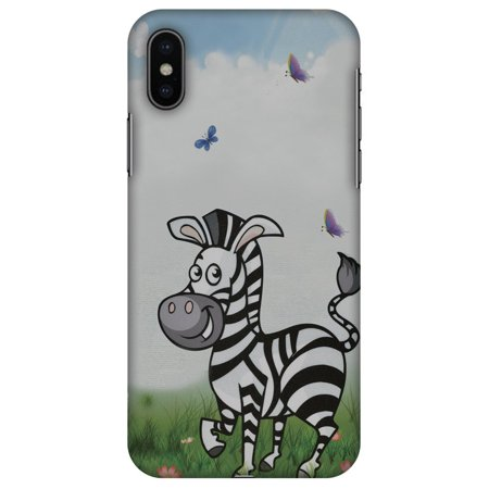iPhone X Case - Lexi Zebra, Hard Plastic Back Cover. Slim Profile Cute Printed Designer Snap on Case with Screen Cleaning (Transparent Zebra Snap)