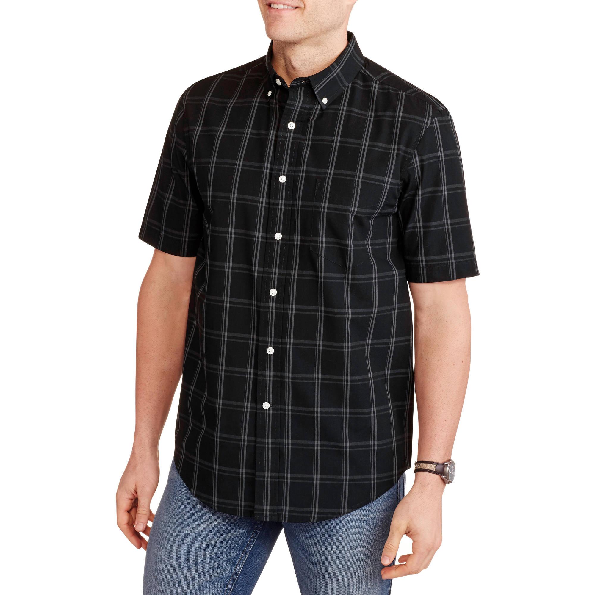 George Men's Short Sleeve Plaid Woven Shirt