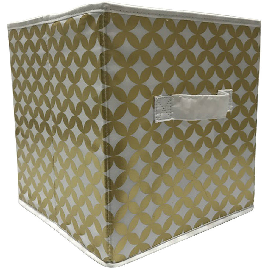 Mainstays Collapsible Fabric Storage Cube, Gold, Diamond Pattern