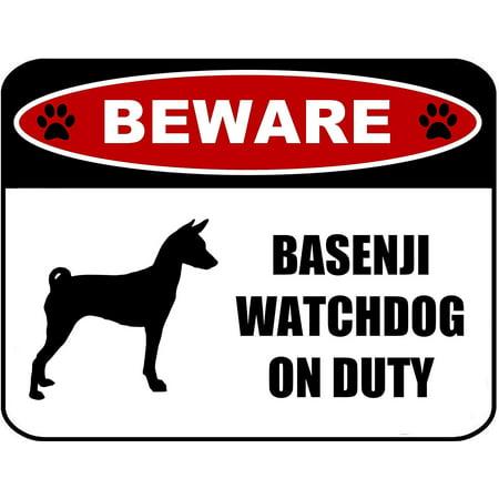 Basenji Silhouette Dogs (PCSCP Beware Basenji Watchdog On Duty (Silhouette) 11.5 inch x 9 inch Laminated Dog)