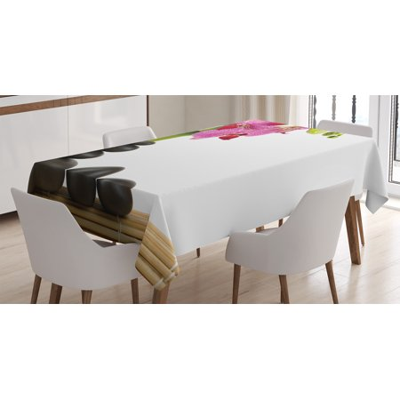 Spa Decor Tablecloth, Beautiful Pink Orchid with Bamboos and Black Hot Stone Massage Image, Rectangular Table Cover for Dining Room Kitchen, 60 X 90 Inches, Pink Green and Black, by Ambesonne