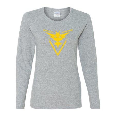 7f1560d3 Custom Apparel R Us - Pokemon Go Gym Team Instinct Yellow Womens Long  Sleeve Tee T-Shirt Top - Walmart.com