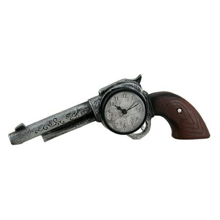 Clocked & Loaded Western 6 Shooter Revolver Decorative Desk Clock 11